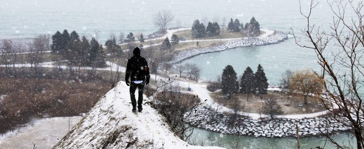View of Lake Ontario from the Scarborough Bluffs in East Toronto, in winter.