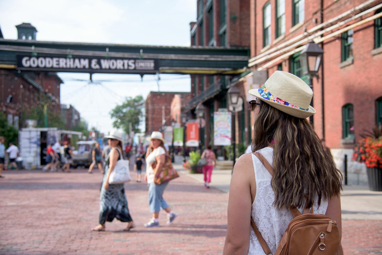 Tourists walk through the Distillery District. Photo credit: Tourism Toronto.