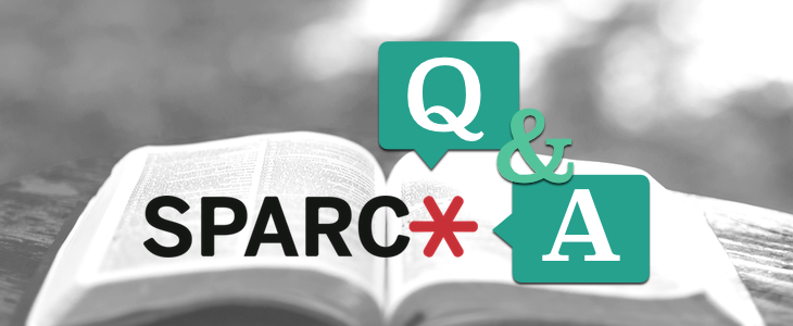 Black and white image of an open book, with symbols for Q&A with SPARC logo.