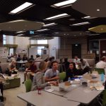 People eating lunch at the Faculty of Information Inforum Library during ELPUB conference