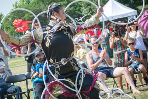 Lisa Odjig of the Ojibwe Nation, two time world champion Hoop Dancer, performs at the 2016 Indigenous Arts Festival.
