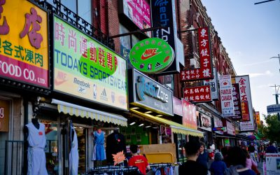 Colourful store signs with English and Chinese writing. Photo credit: Tourism Toronto.