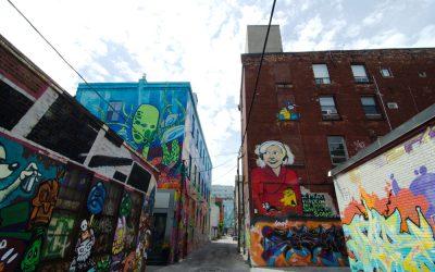 Street art in Toronto's graffiti alley.