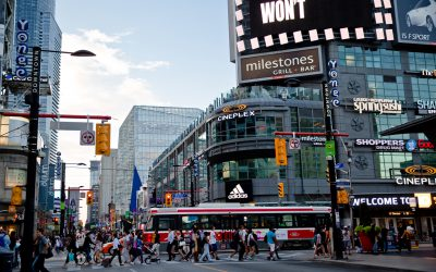 View of Yonge-Dundas Square during the day.